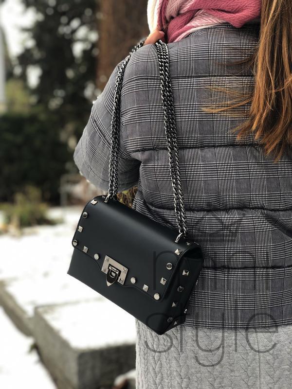 Кожа кожаная сумка на ручке цепочке cross-body сумочка трендов... - Фото 5