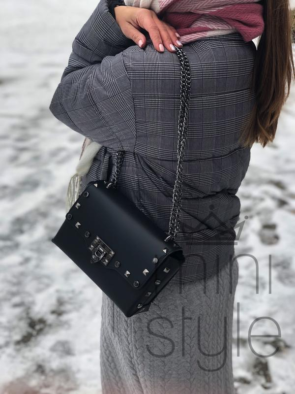 Кожа кожаная сумка на ручке цепочке cross-body сумочка трендов... - Фото 7