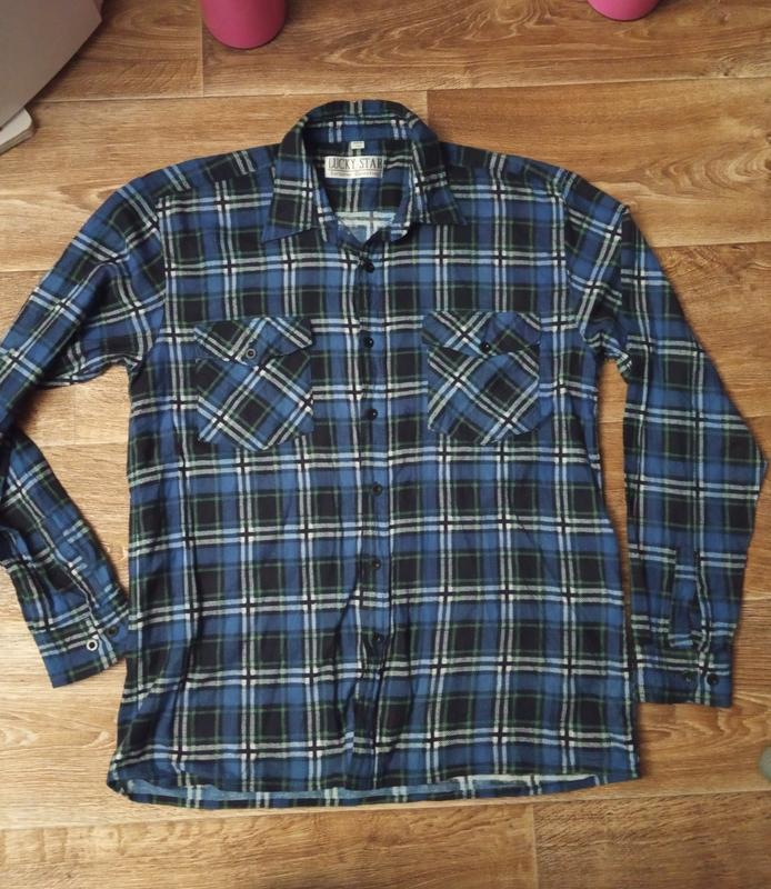 Мягкая байковая рубашка клетка