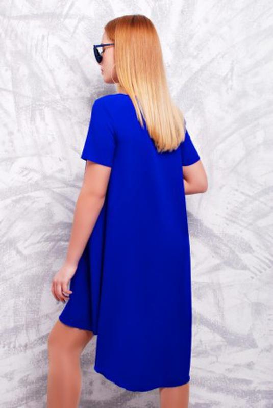 Платье синее со шлейфом двойное не просвещается, платье красивое - Фото 2