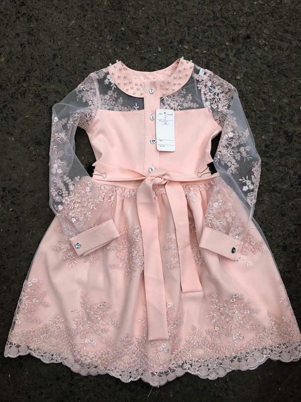 Шикарное кружевное платье,  с жемчугом - Фото 2