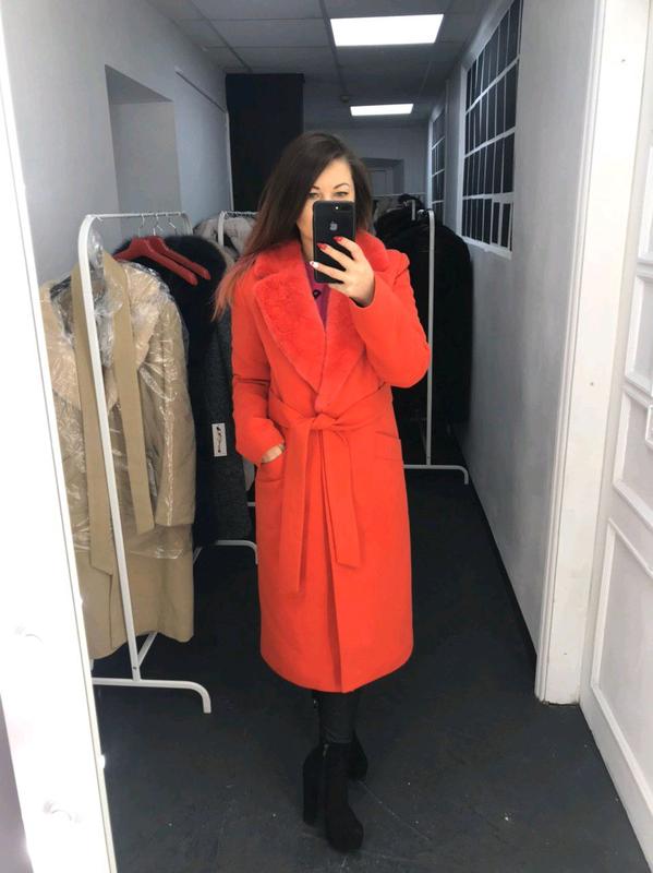 Женское Кашемировое пальто с мехом - Фото 3