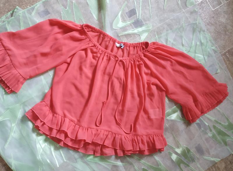 Короткая розовая шифоновая блуза с плиссе м - Фото 3