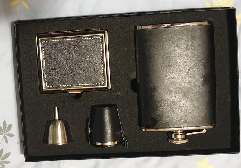 Набор - фляга, портсигар, стопка - Фото 2