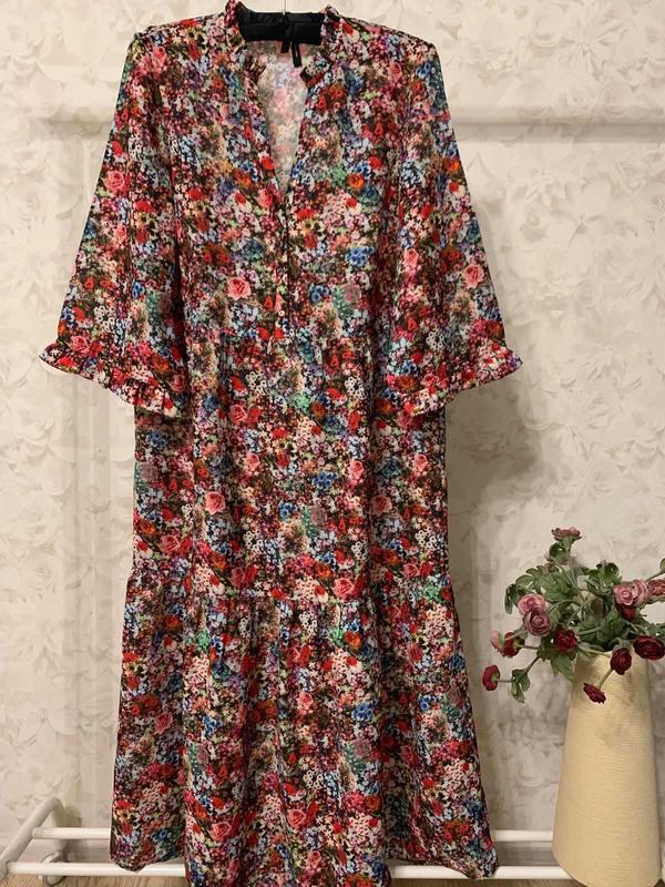 Платье цветочный принт оборки vero moda, новое! - Фото 2