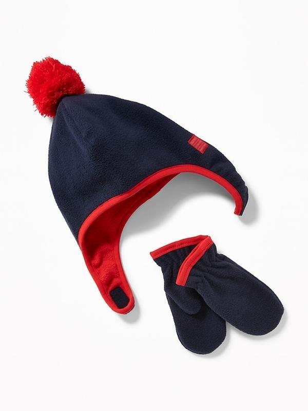 Варежки шапка детская 1 2 3 года 4 5 лет флисовые комплект old...