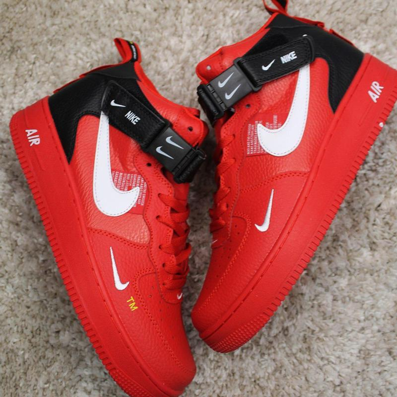 Стильные кроссовки 😍 nike air force 1 high red black  😍