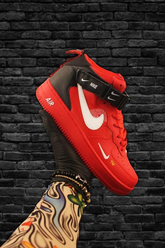 Стильные кроссовки 😍 nike air force 1 high red black  😍 - Фото 2