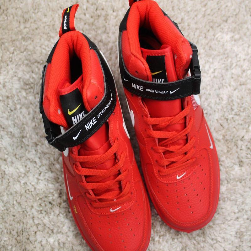 Стильные кроссовки 😍 nike air force 1 high red black  😍 - Фото 3