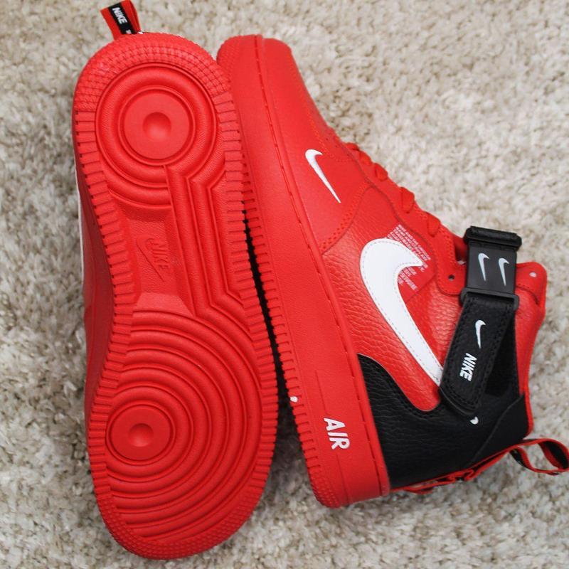 Стильные кроссовки 😍 nike air force 1 high red black  😍 - Фото 6
