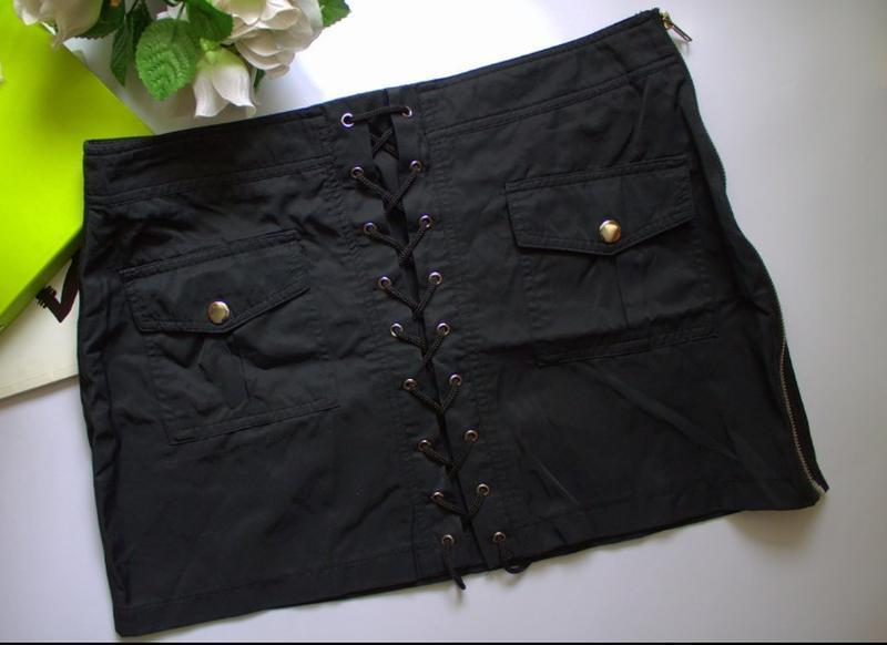 Юбка юбочка черная с карманами