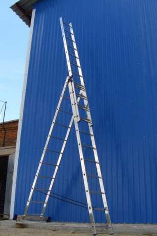 3x12 ступеней алюминиевая лестница - стремянка 3-х секционная ...
