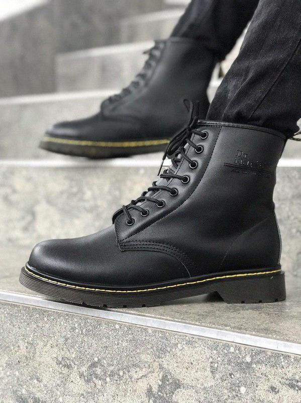 Стильные ботинки 🔥 dr. martens black1460 ❄️❄️ мех зима - Фото 4