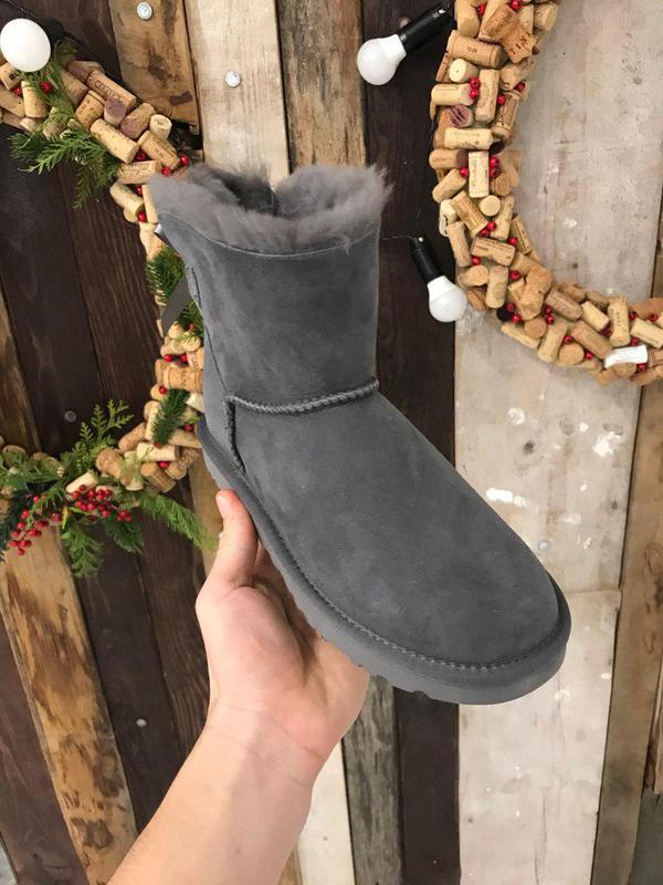 Крутые уги ❄️ugg mini bailey bow boot gray ❄️ на овчине - Фото 2