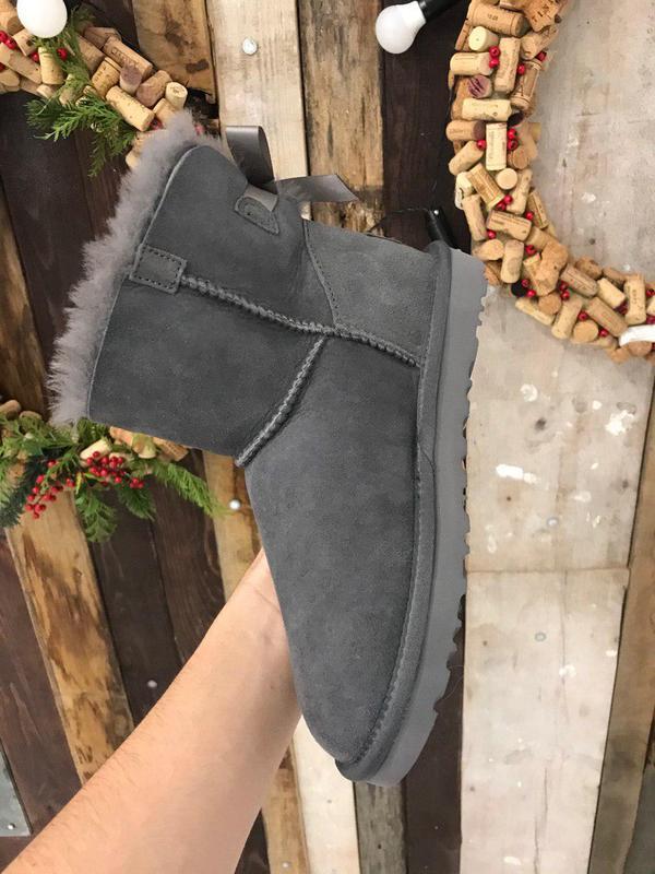 Крутые уги ❄️ugg mini bailey bow boot gray ❄️ на овчине - Фото 3