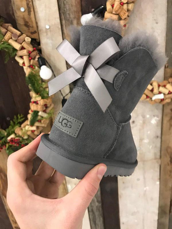 Крутые уги ❄️ugg mini bailey bow boot gray ❄️ на овчине - Фото 6