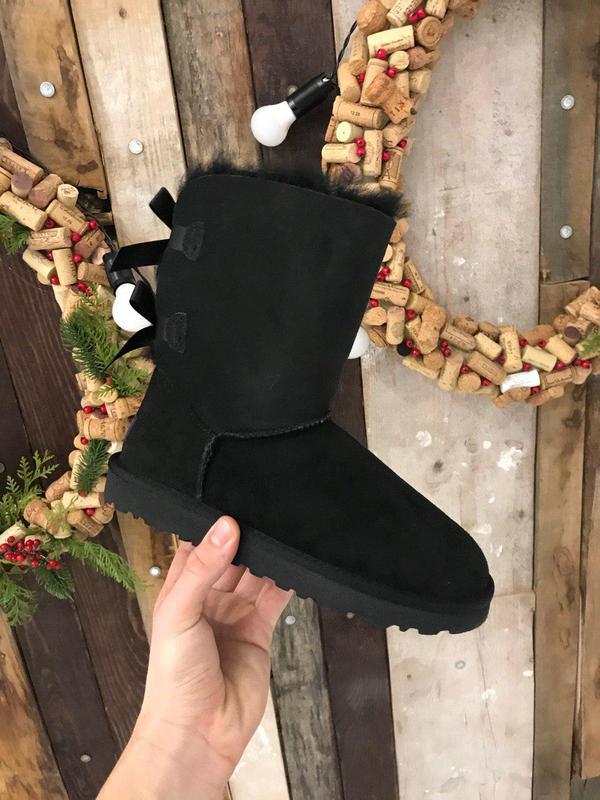 Крутые уги ❄️ugg bailey bow boot black ❄️ на овчине