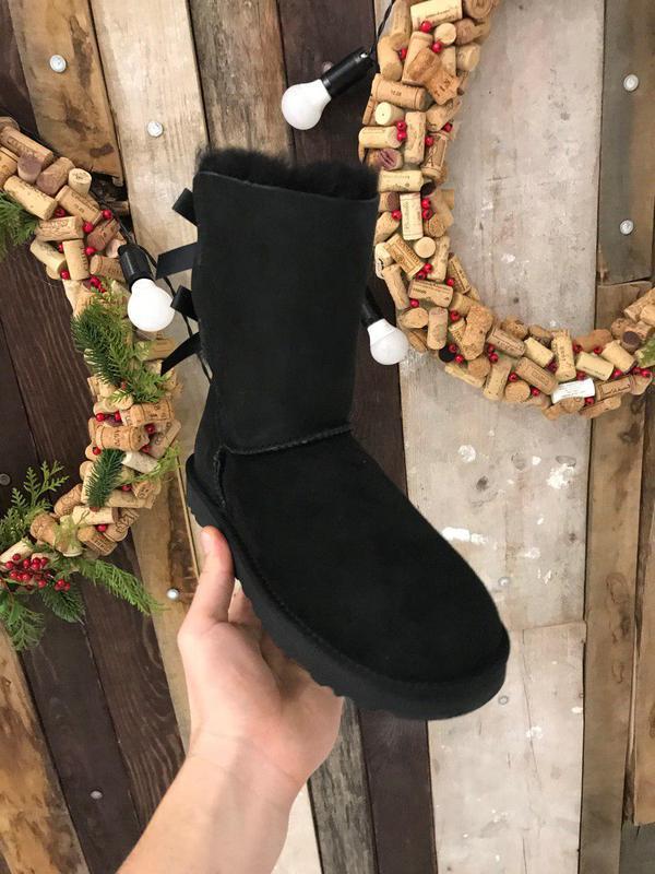 Крутые уги ❄️ugg bailey bow boot black ❄️ на овчине - Фото 2