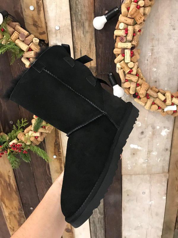 Крутые уги ❄️ugg bailey bow boot black ❄️ на овчине - Фото 3
