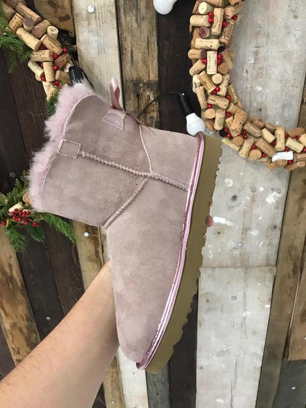 Крутые уги ❄️ugg mini bailey bow boot pink ❄️ на овчине - Фото 3