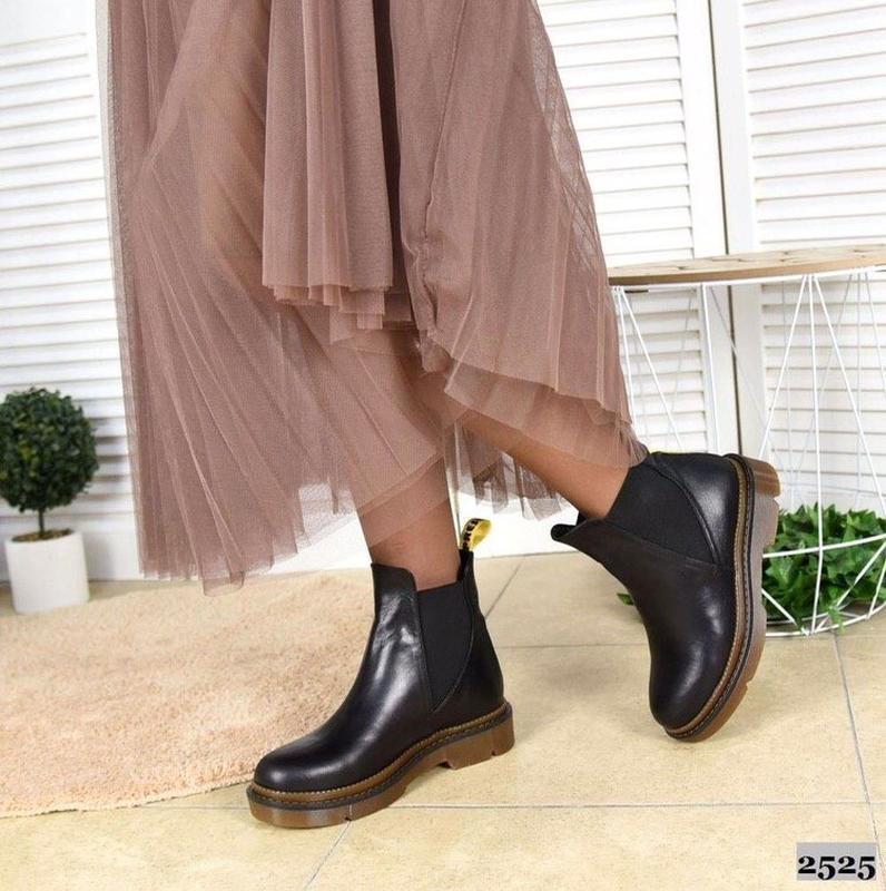 Натуральные кожаные женские демисезонные ботинки челси - Фото 4