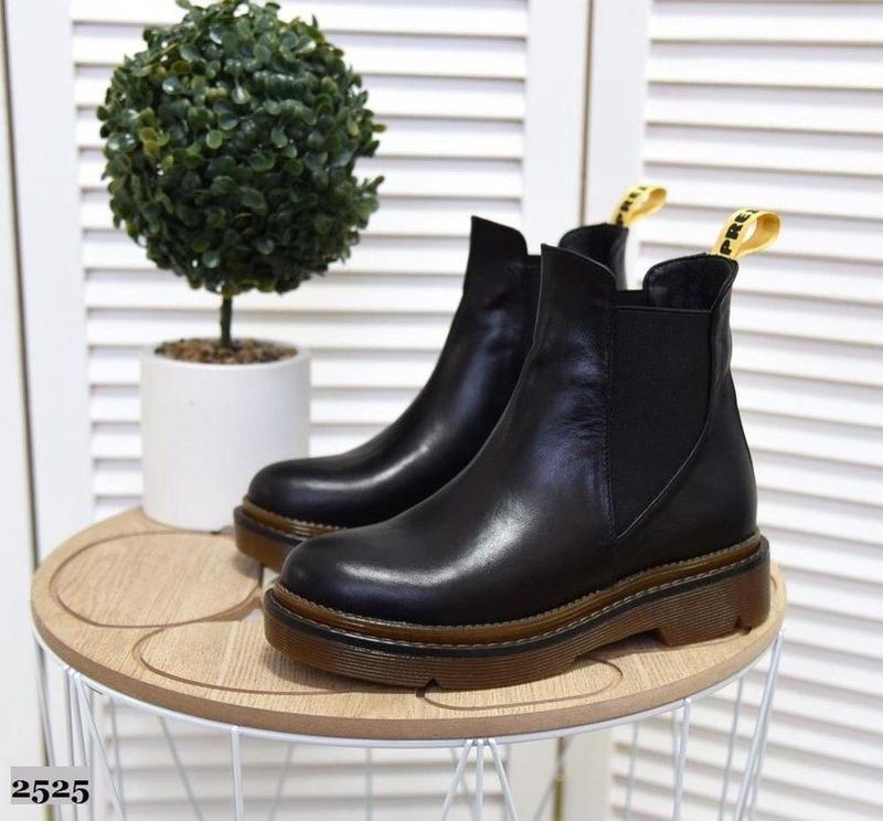 Натуральные кожаные женские демисезонные ботинки челси - Фото 5