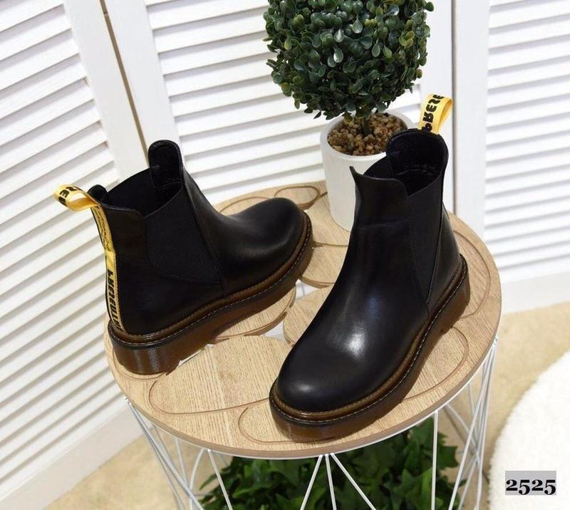 Натуральные кожаные женские демисезонные ботинки челси - Фото 7