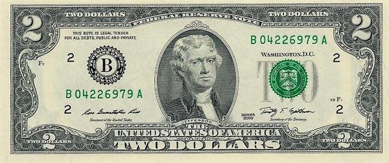 Банкнота США 2 доллара.