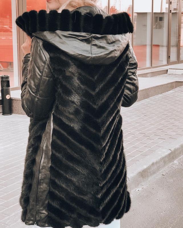 Курточка норка трансформер рукав кожа - Фото 3
