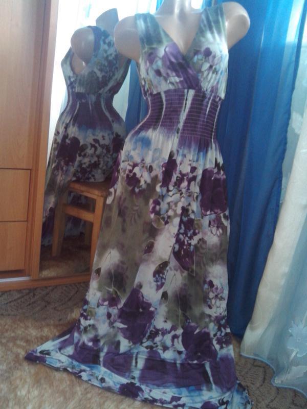 Фиалковое платье в пол от izabel - Фото 2