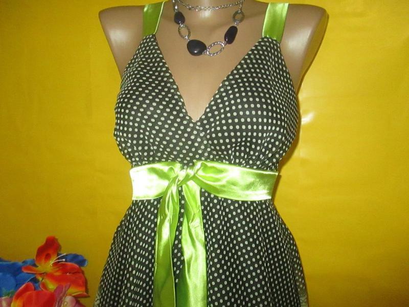 Платье-миди летнее, шифоновое в горошек - Фото 3