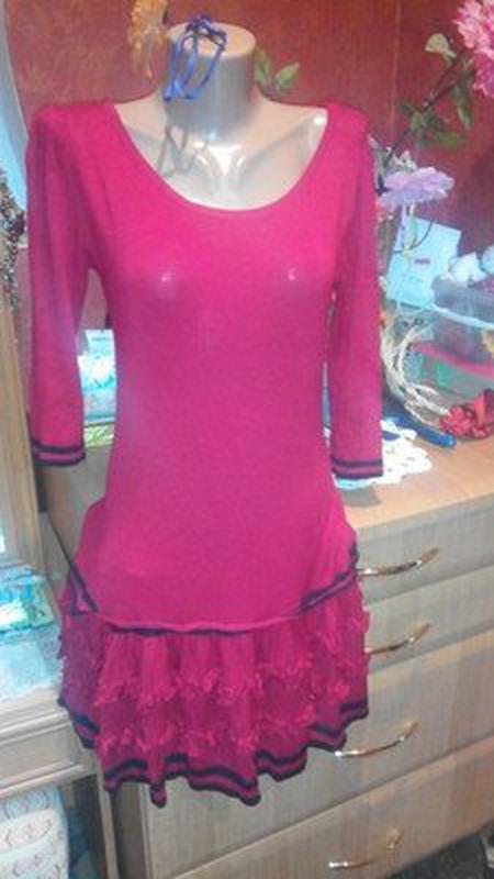 Тёплое трикотажное платье - Фото 5