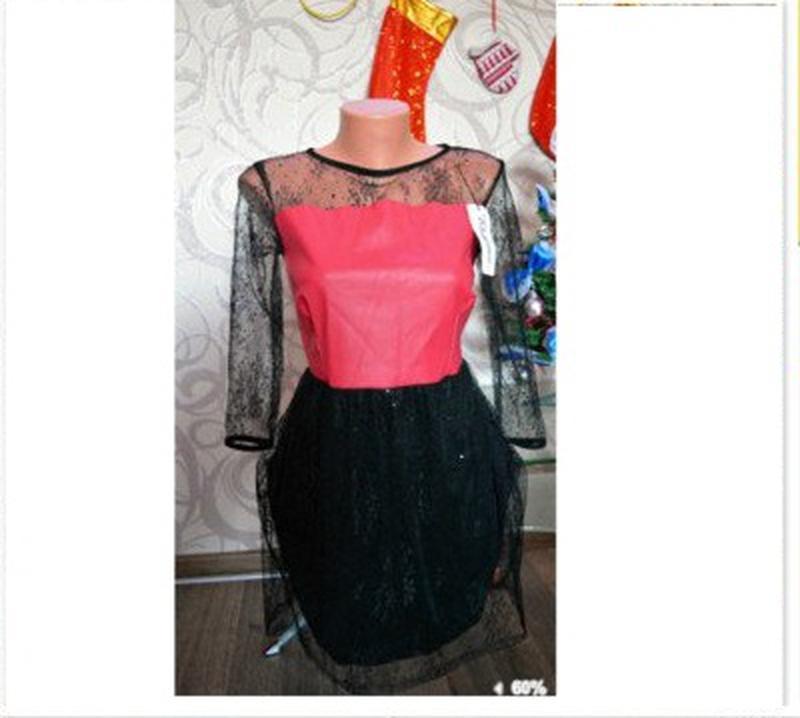 Нарядное платье гипюр и эко-кожа