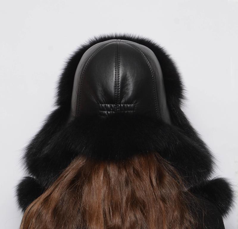 Женская меховая шапка ушанка из песца черный - Фото 3