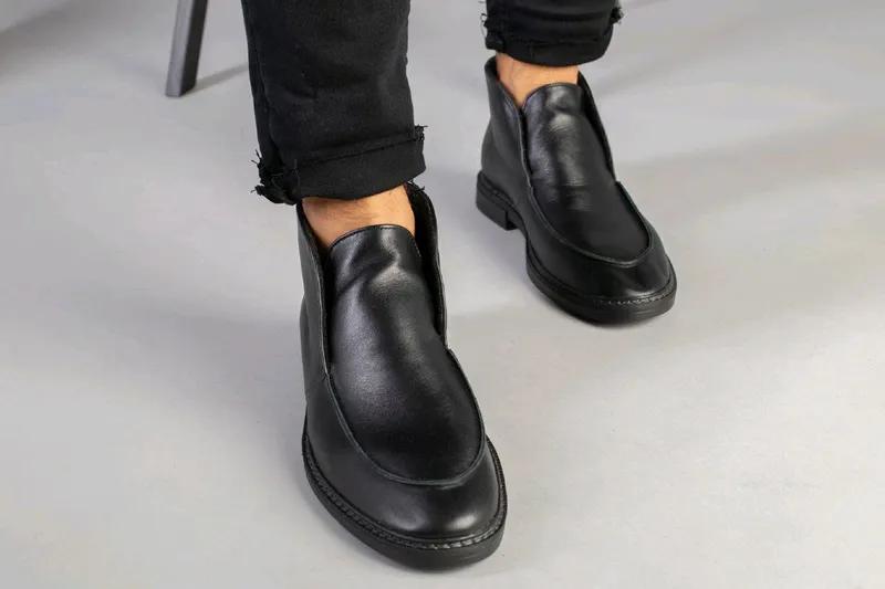 Мужские натуральные кожанные демисезоные ботинки туфли лоферы - Фото 3
