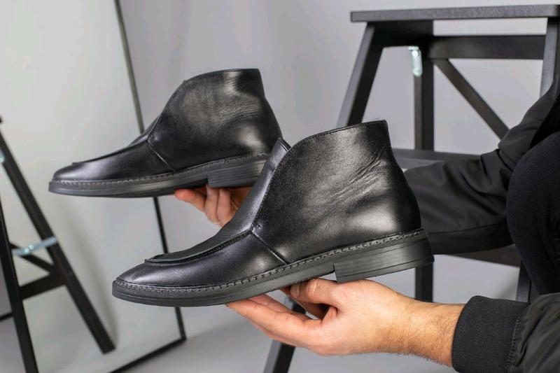 Мужские натуральные кожанные демисезоные ботинки туфли лоферы - Фото 2
