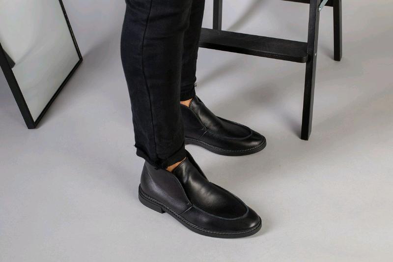 Мужские натуральные кожанные демисезоные ботинки туфли лоферы - Фото 12
