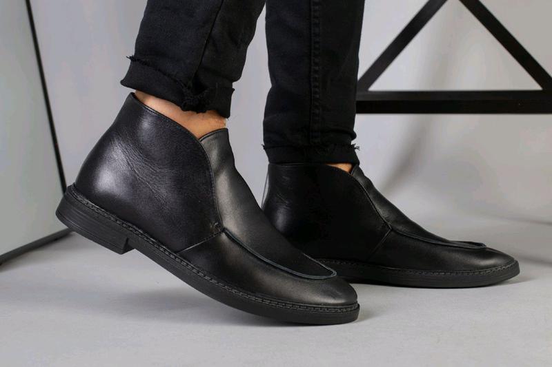Мужские натуральные кожанные демисезоные ботинки туфли лоферы - Фото 14