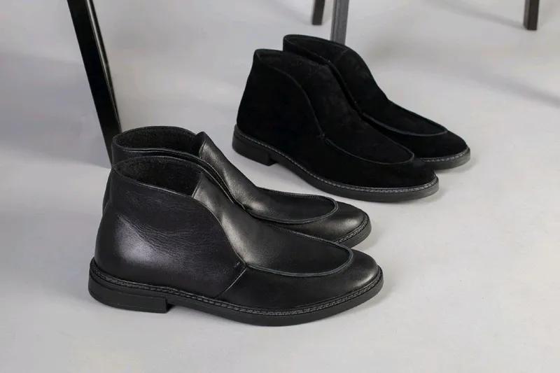 Мужские натуральные кожанные демисезоные ботинки туфли лоферы - Фото 19