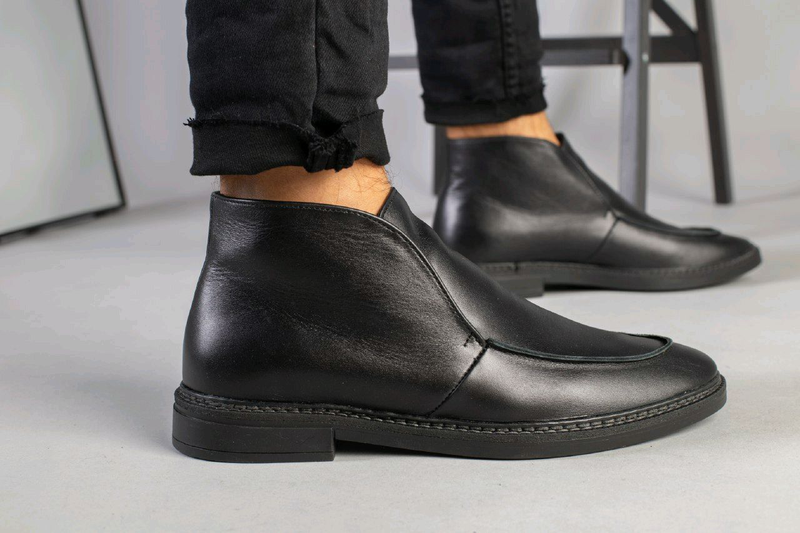 Мужские натуральные кожанные демисезоные ботинки туфли лоферы - Фото 17