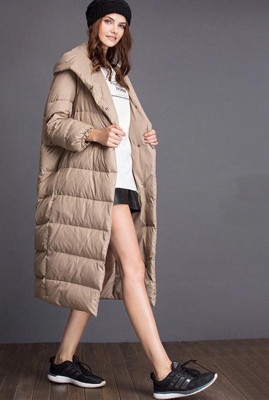 Шикарное женское пальто оверсайз oversize осень-зима кокон - Фото 4