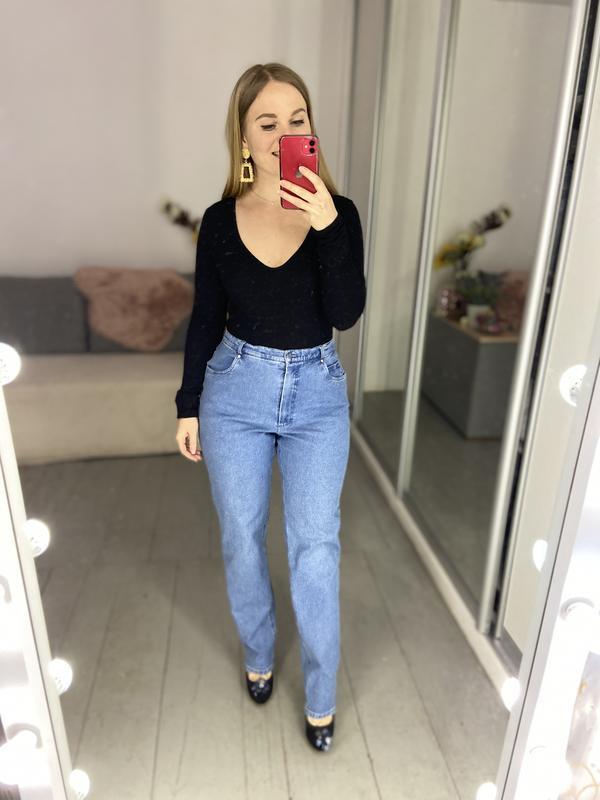 Актуальные винтажные прямые джинсы высокая посадка №135 - Фото 8