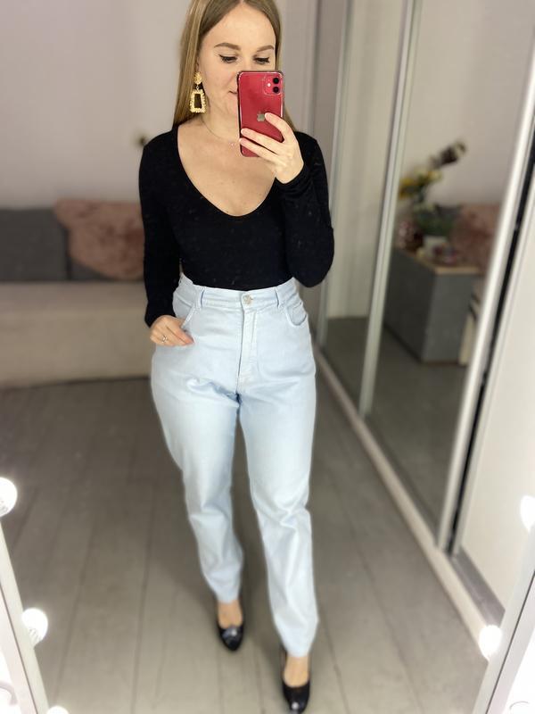 Актуальные винтажные прямые джинсы высокая посадка №136 - Фото 7