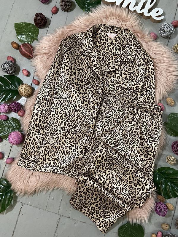 Нежная сатиновая пижама в леопардовый принт №70 - Фото 2