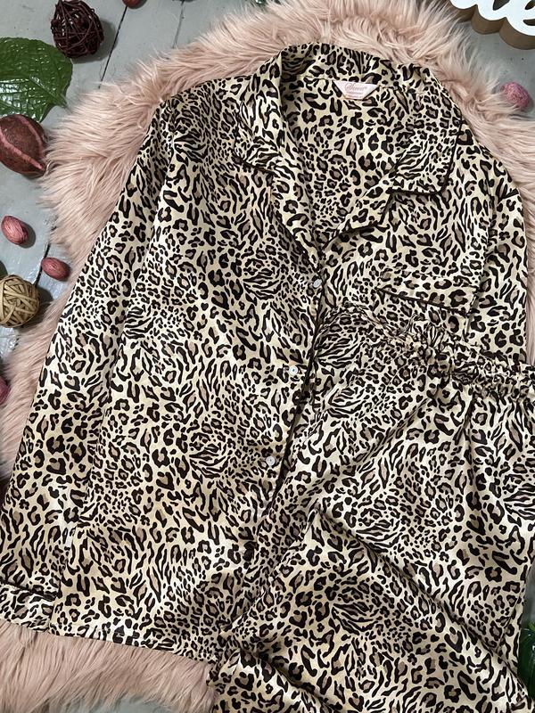 Нежная сатиновая пижама в леопардовый принт №70 - Фото 3