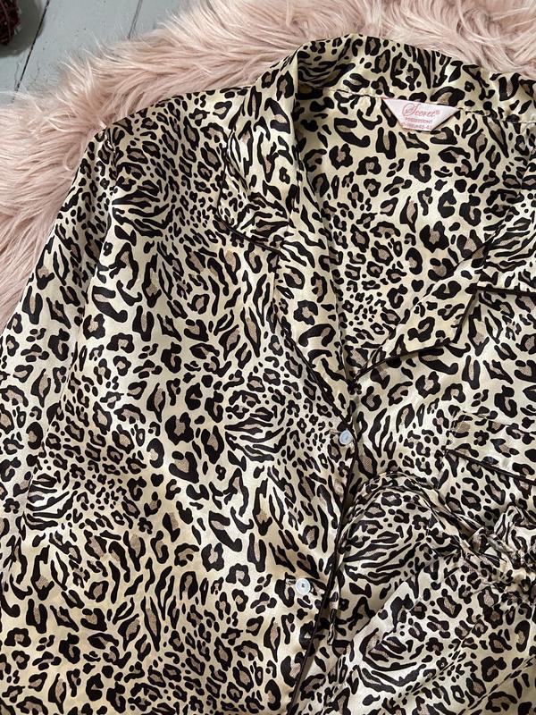 Нежная сатиновая пижама в леопардовый принт №70 - Фото 4