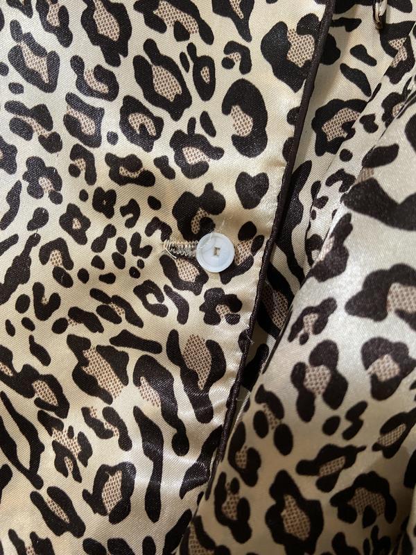 Нежная сатиновая пижама в леопардовый принт №70 - Фото 5