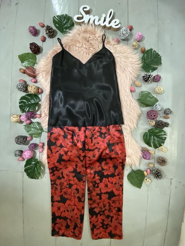 Нежная сатиновая пижама цветочный принт №71