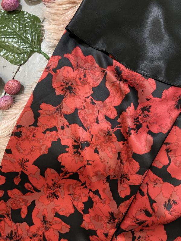 Нежная сатиновая пижама цветочный принт №71 - Фото 4