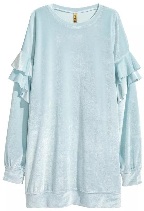 Длинная кофта, свитер из велюра от h&m с оборками - Фото 2